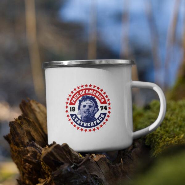 Leatherface enamel mug