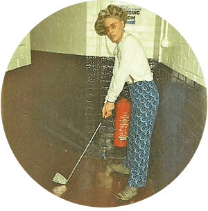 Tony with golf clobber in hallway