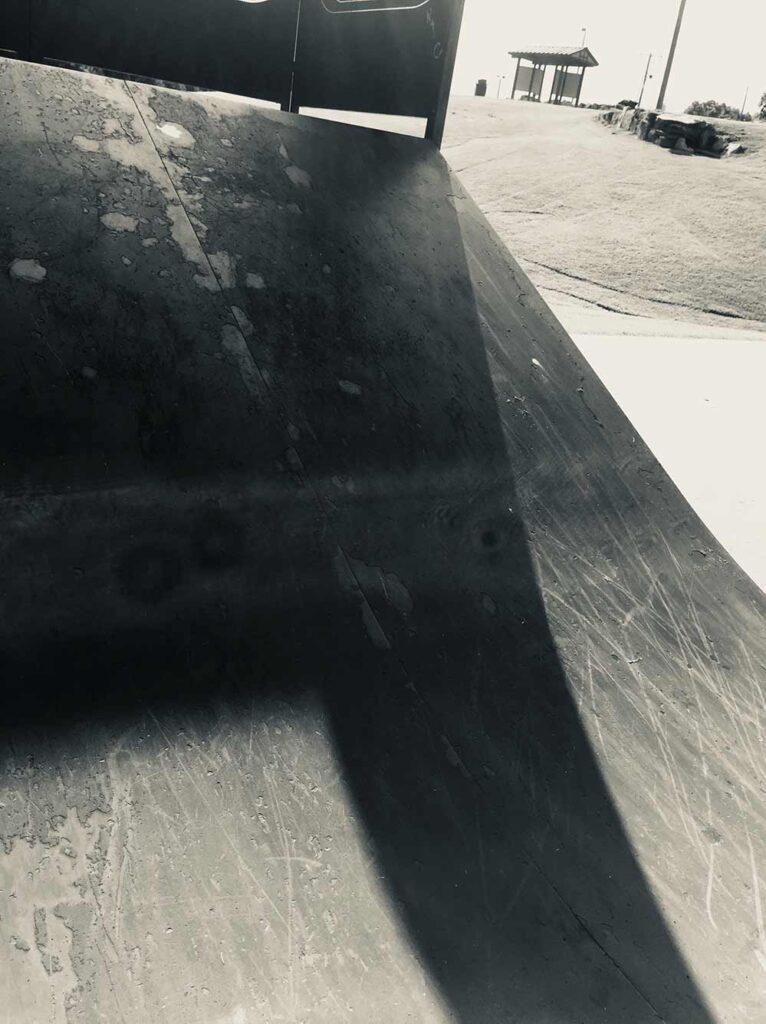 moody black and white skatepark ramp