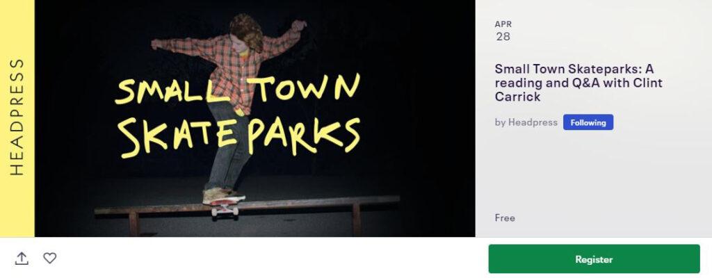 Small Town Skateparks Eventbrite banner