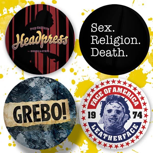 Set of four badges