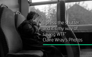 Title block woman reading a book on a bus