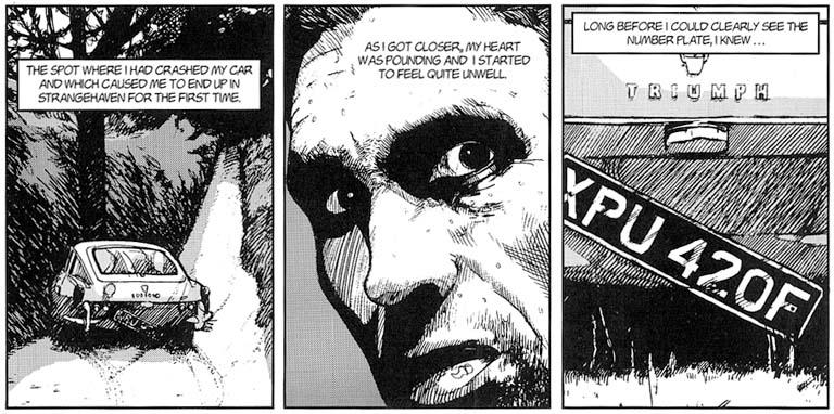 Three panels from Strangehaven issue 7